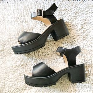 KOI chunky black platform sandals
